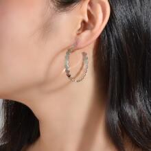 Round Design Cuff Hoop Earrings