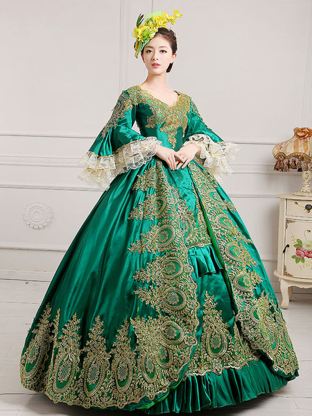 Milanoo Victorian Dress Costume Women's Green Baroque Masquerade Ball Gowns Royal Victoria Era Clothing Retro Costume Halloween