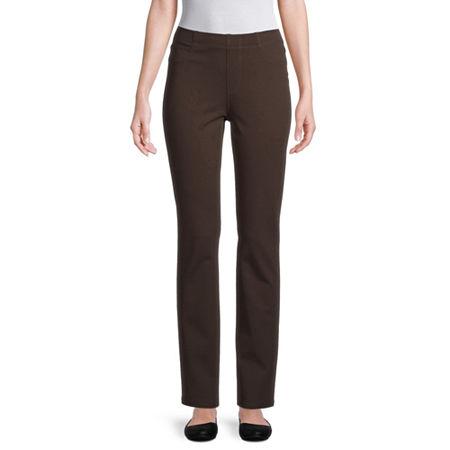 St. John's Bay Womens Full Length Leggings, Petite Medium , Brown