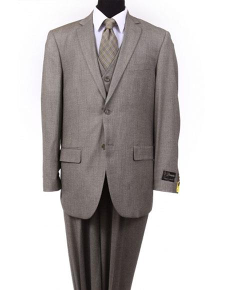 Mens 2 button Vested Pleated Pants Taupe Earth Wool Suit toned Color