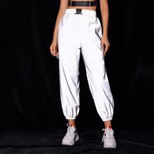 Buckle Elastic Waist Reflective Sweatpants