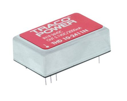 TRACOPOWER THD 10N 10W Isolated DC-DC Converter Through Hole, Voltage in 36 → 75 V dc, Voltage out 12V dc