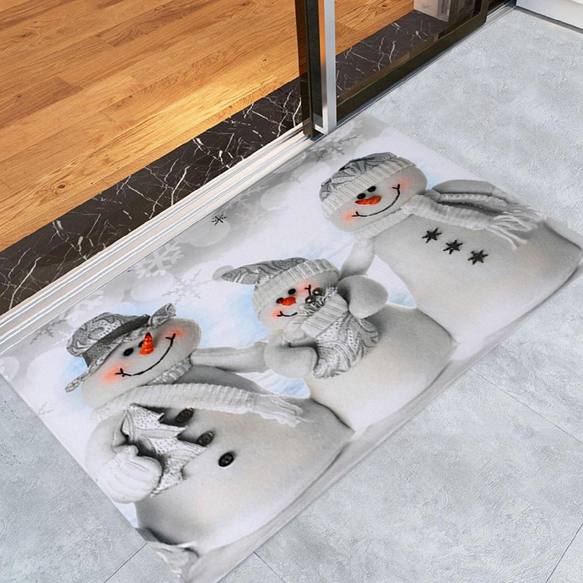 Christmas Snowmen Family Pattern Anti-skid Water Absorption Area Rug