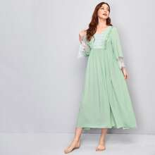 Frill Trim Contrast Embroidered Mesh Nightdress