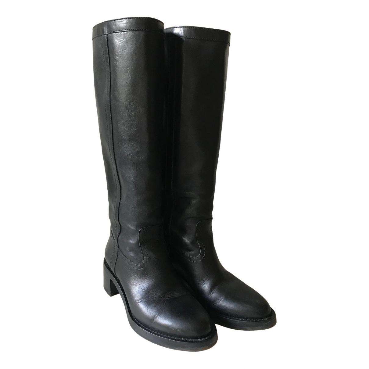 Celine Folco Black Leather Boots for Women 38 EU