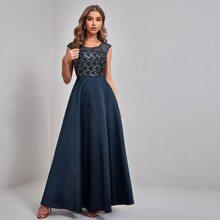 A-Linie Kleid mit Kontrast Netzstoff & Pailletten und Perlen
