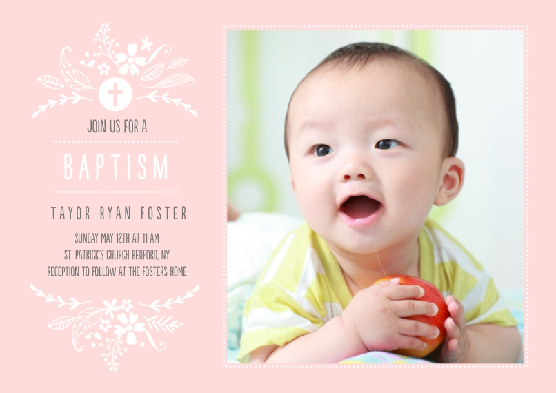 Baptism Invitations 5x7 Cards, Premium Cardstock 120lb with Scalloped Corners, Card & Stationery -Baptism Foliage Arch