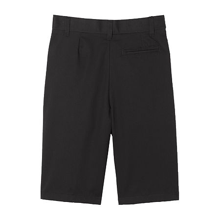 French Toast Flat Front Short Little & Big Boys Mid Rise Stretch Adjustable Waist Chino Short, 7 , Black