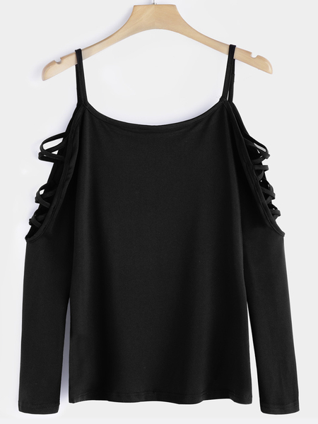 Yoins  Black Cut Out Round Neck Long Sleeves T-shirts