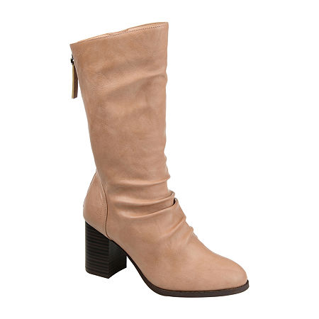 Journee Collection Womens Sequoia Slouch Boots Stacked Heel, 10 Medium, Beige