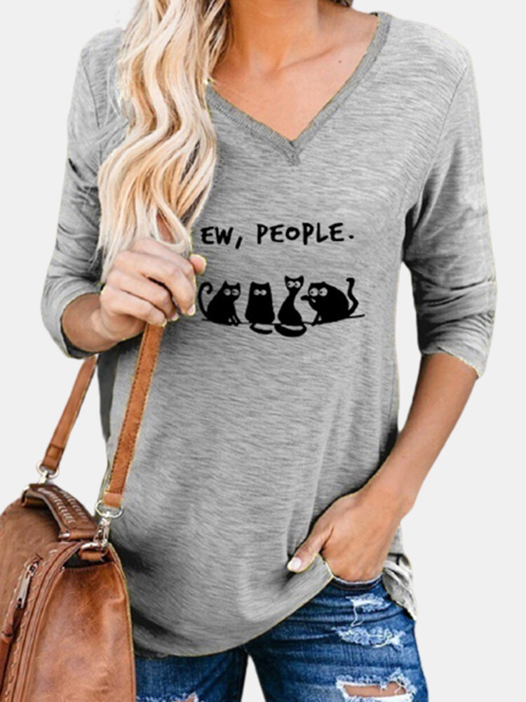 Cartoon Cat Print V-neck Long Sleeve Casual Women T-Shirt