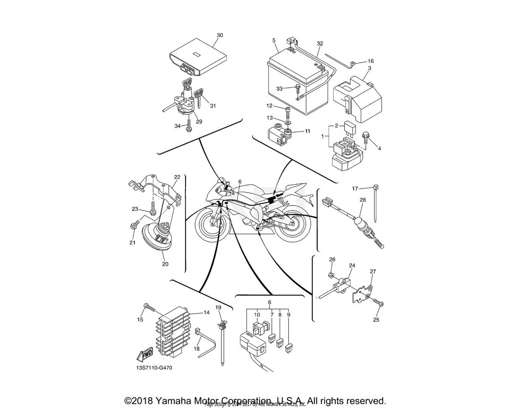 Yamaha OEM 2C0-82501-10-00 MAIN SWITCH STEERING LOCK