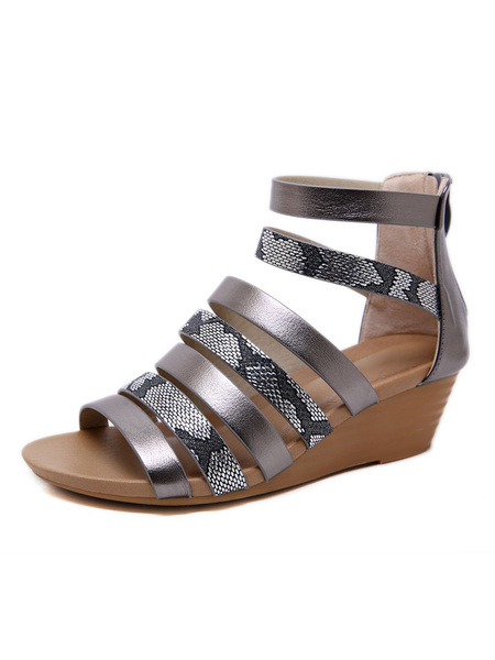 Milanoo Sandalias de cuña para mujer Gorgeous PU Leather Open Toe antideslizante