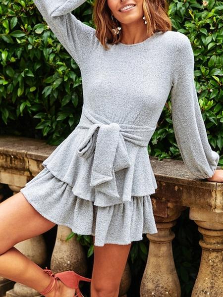 Yoins Grey Backless Design Plain Ruffle Dress