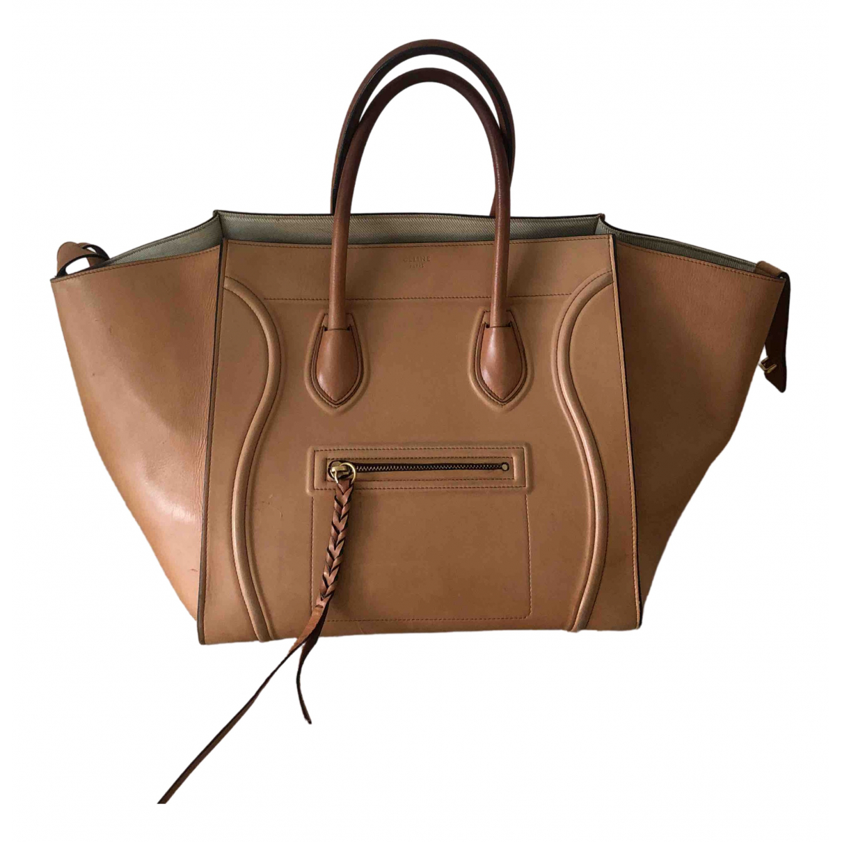 Celine Luggage Phantom Handtasche in  Kamel Leder
