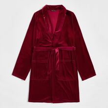 Guys Shawl Collar Patch Pocket Belted Velvet Robe