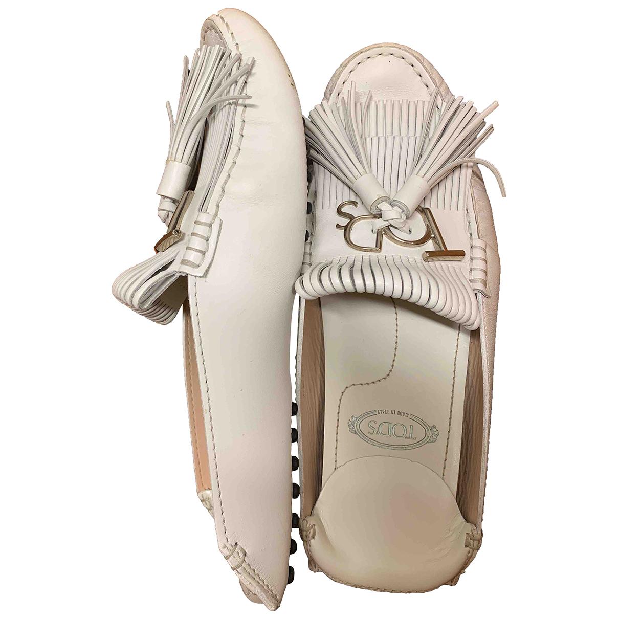Tod's Gommino White Leather Flats for Women 37 EU