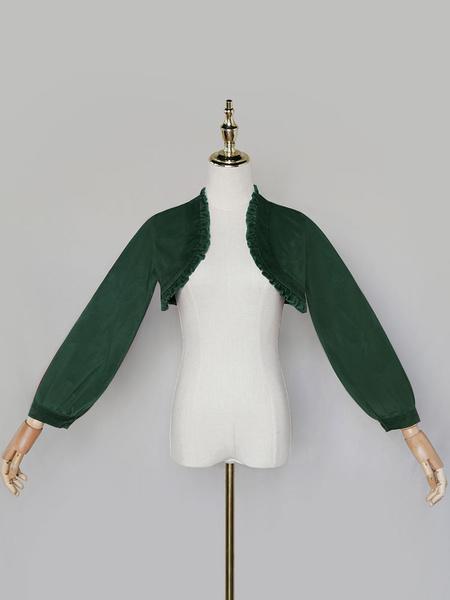 Milanoo Sweet Lolita Cover-ups Burgundy Top Velour Long Sleeve Lolita Outwears