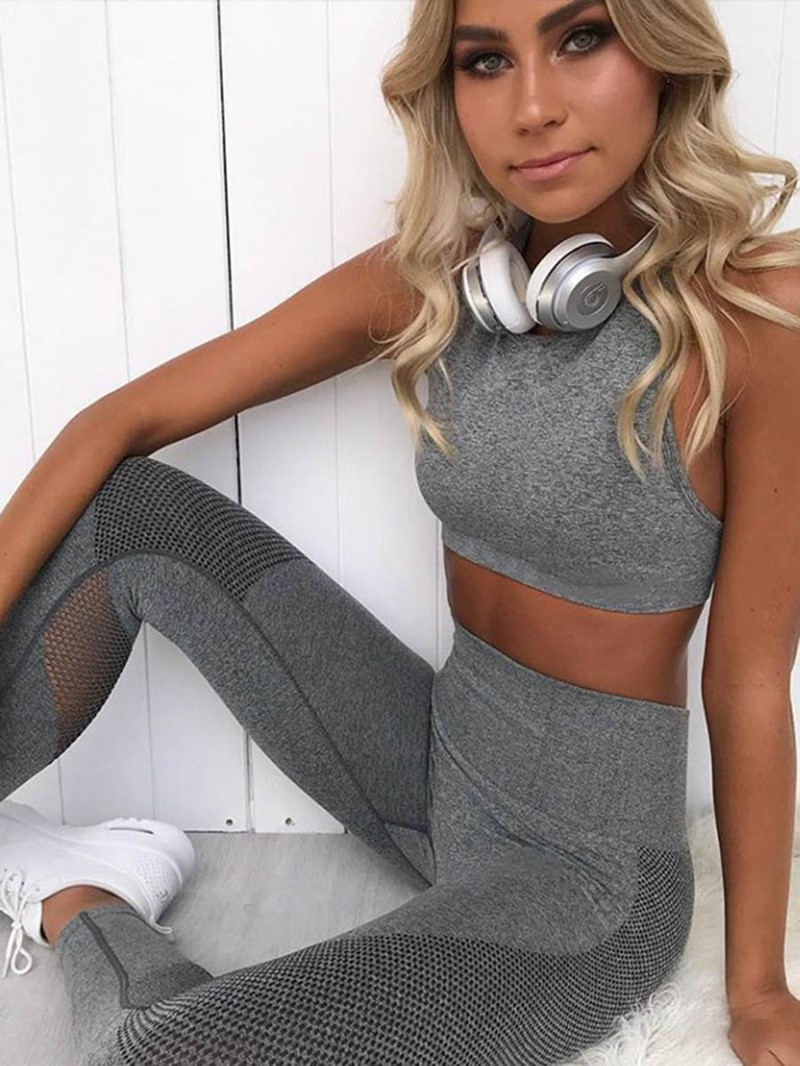 Ericdress Patchwork Solid Breathable Full Length Pullover Sports Sets