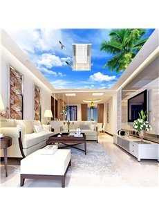 3D Palms and Blue Sky Waterproof Durable and Eco-friendly Ceiling Murals