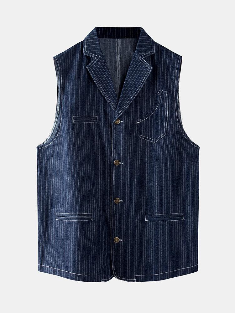 Mens Cotton Stripe Multi Pockets Sleeveless Vests