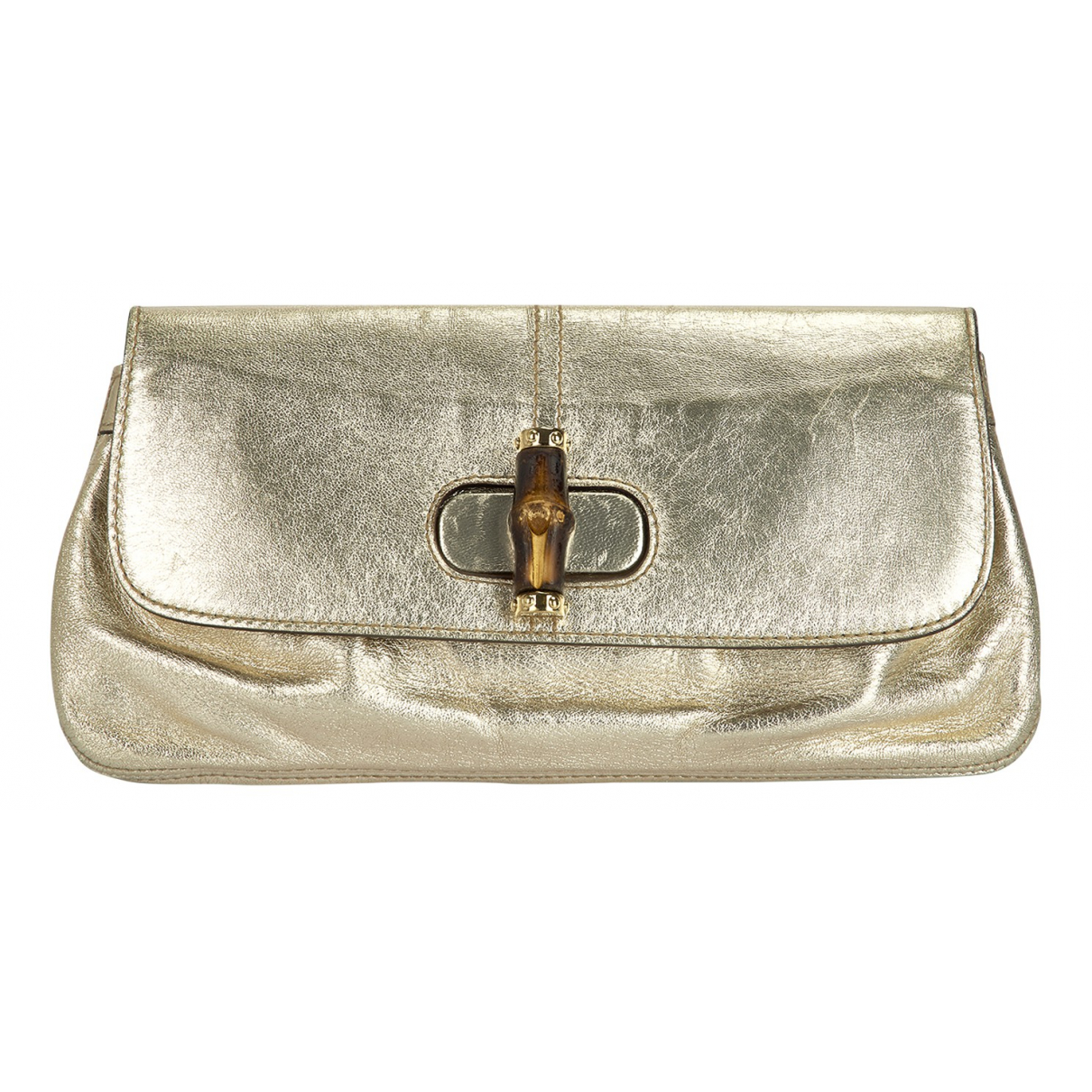 Gucci Bamboo Clutch in  Gold Leder