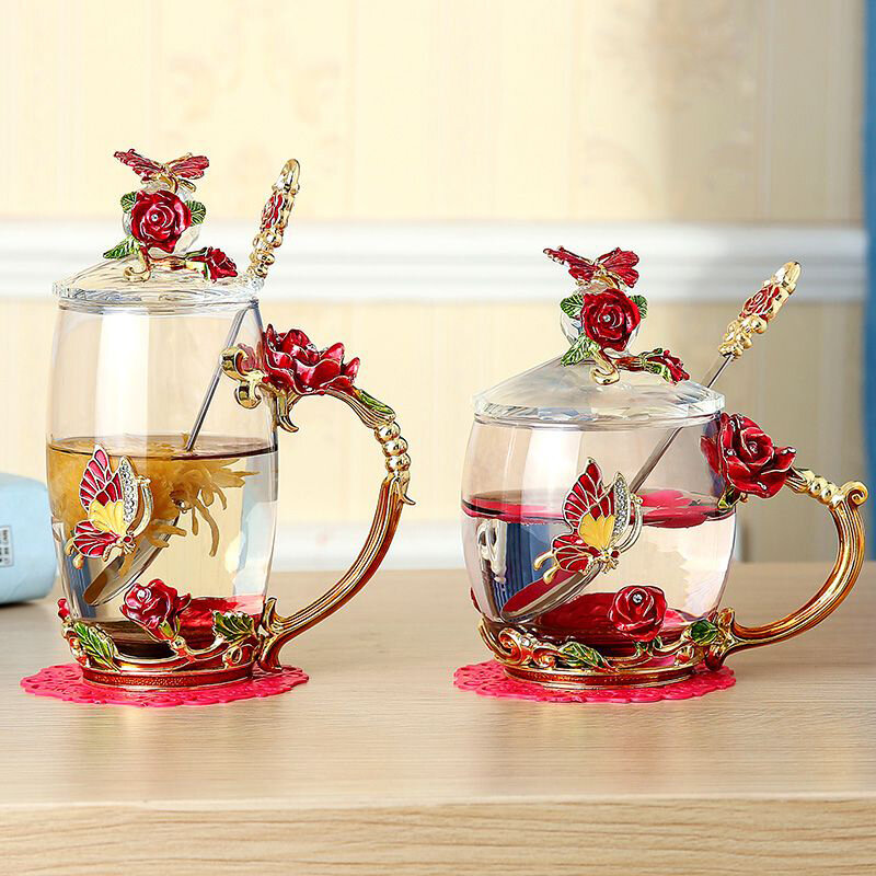 Enamel Glass Rose Flower Tea Cup with Lid and Glass Liner Set Spoon Coffee Cup Cold Drinks Beer Mug