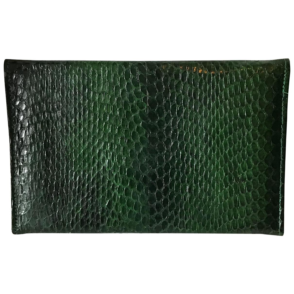 - Portefeuille   pour femme en cuir exotique - vert