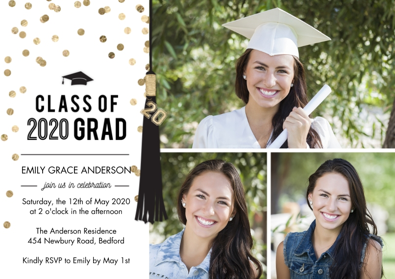 2020 Graduation Invitations 5x7 Cards, Premium Cardstock 120lb with Rounded Corners, Card & Stationery -2020 Grad Party Tassel Memories by Tumbalina
