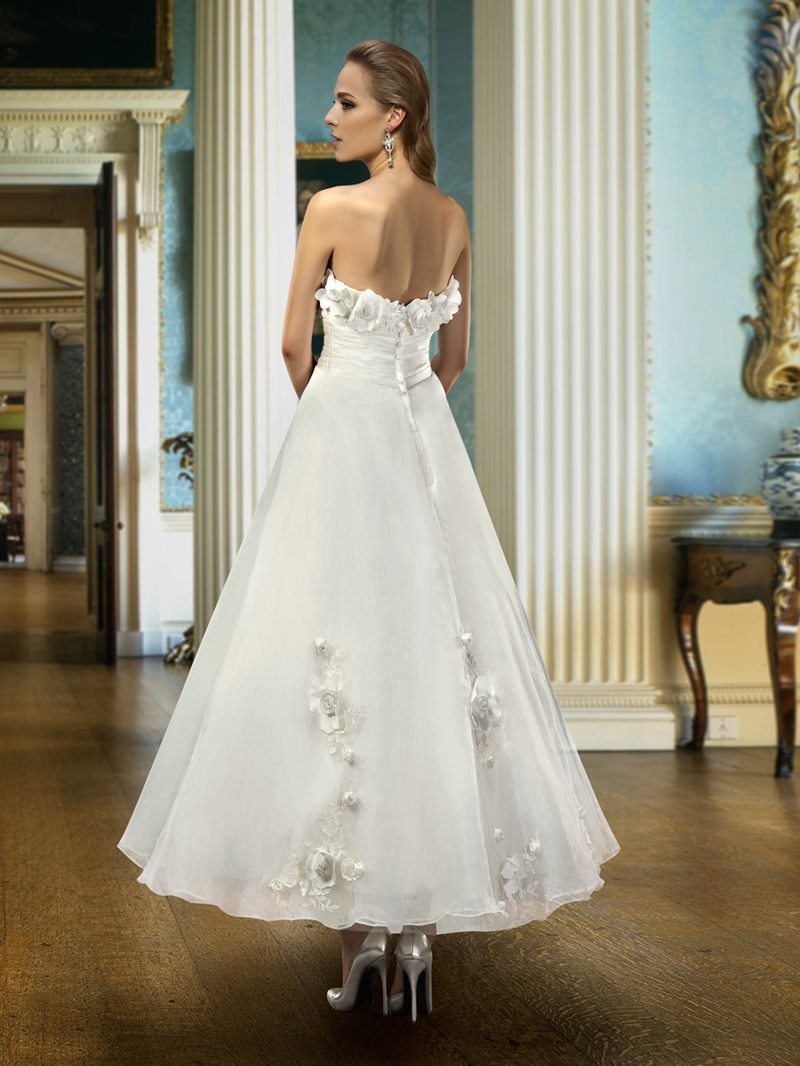 Ericdress Strapless 3D Flowers Ankle-Length Wedding Dress