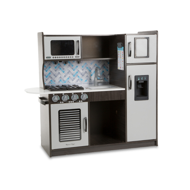 Wooden Chef?s Pretend Play Toy Kitchen With ?Ice? Cube Dispenser, Easy to Assemble, Charcoal, 39