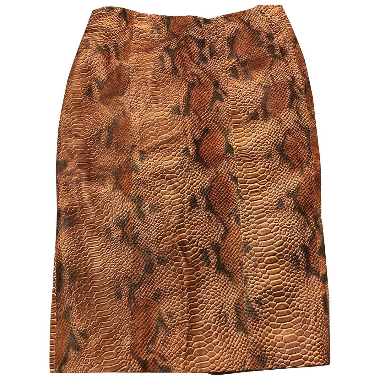 Topshop - Jupe   pour femme en cuir - camel