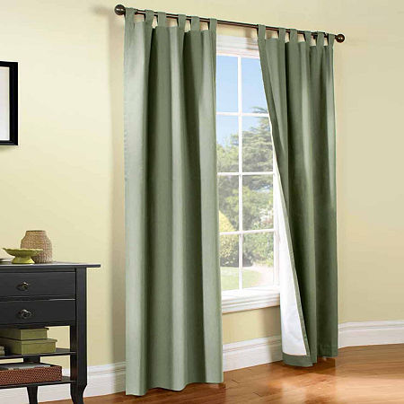 Weathermate Energy Saving Light-Filtering Tab-Top Set of 2 Curtain Panel, One Size , Green