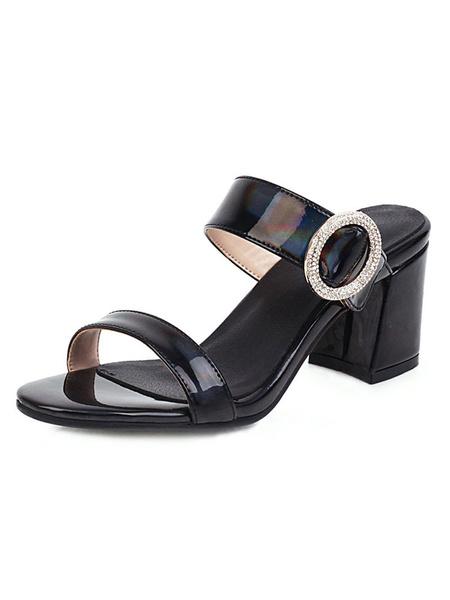 Milanoo Zapatillas sandalias de mujer Sandalias de tacon abierto de cuero rojo PU Diamantes de imitacion Sandalias de tacon grueso