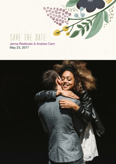 Save the Date 5x7 Cards, Premium Cardstock 120lb with Scalloped Corners, Card & Stationery -Floral Save the Date Wedding Set