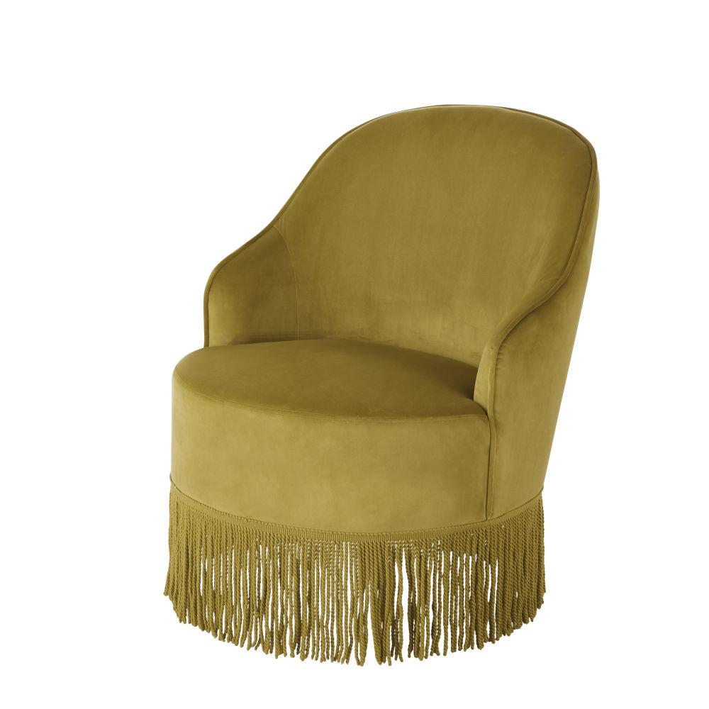 Vintage-Sessel mit gelbem Samtbezug und Fransen Sally