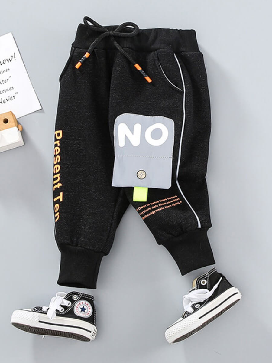 LW Lovely Street Letter Print Black Boy Pants