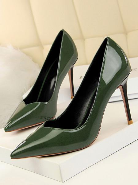Milanoo Black Dress Shoes Women High Heels Pointed Toe Stiletto Heel Slip On Pumps