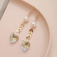 Heart & Chevron Design Drop Earrings