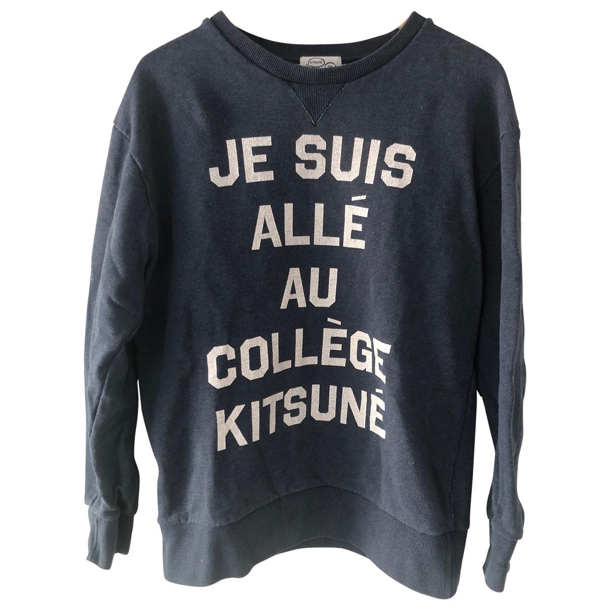 Maison Kitsune \N Pullover.Westen.Sweatshirts  in  Marine Baumwolle