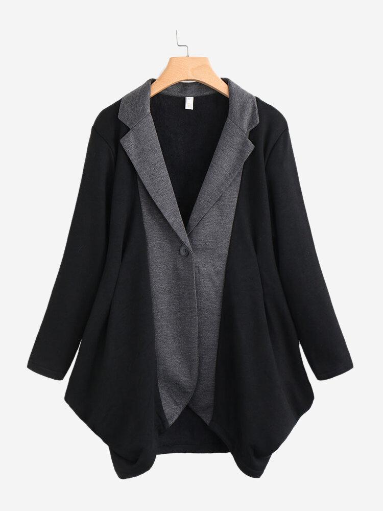 Irregular Patchwork Contrast Color Long Sleeve Women Coat
