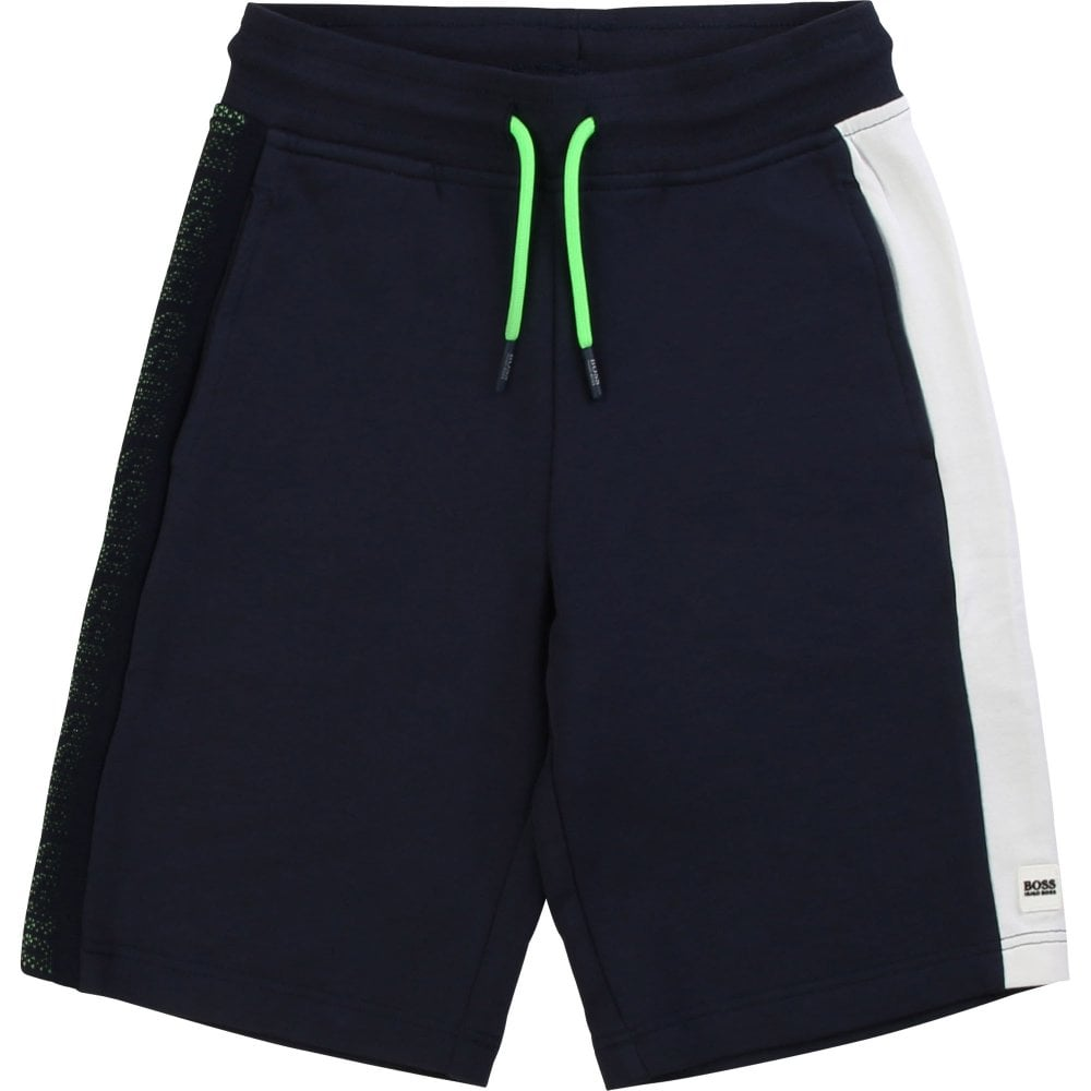 Hugo Boss Kids Stripe Logo Shorts Colour: NAVY, Size: 6 YEARS