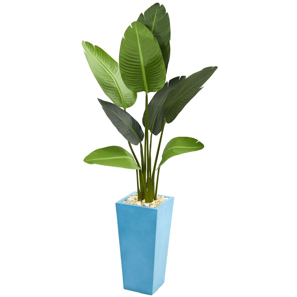 5' Travelers Artificial Palm Tree in Turquoise Planter - h: 5 ft. w: 24 in. d: 20 in (h: 5 ft. w: 24 in. d: 20 in)
