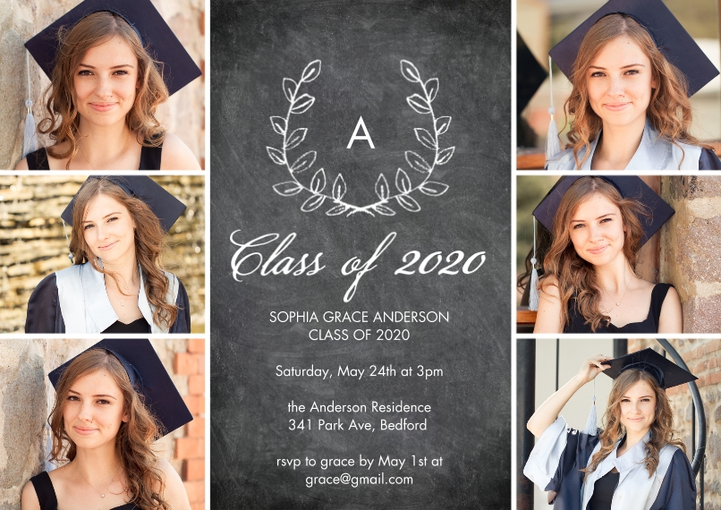 2020 Graduation Invitations Flat Glossy Photo Paper Cards with Envelopes, 5x7, Card & Stationery -Grad 2020 Initial by Tumbalina