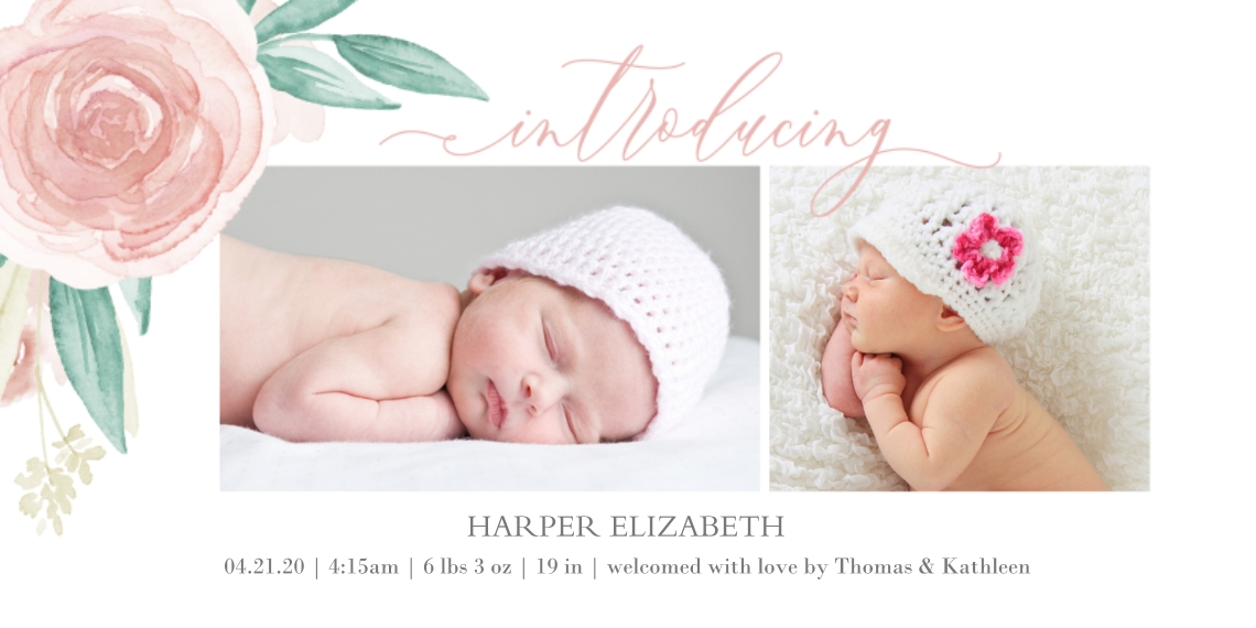 Baby Girl Announcements Flat Matte Photo Paper Cards with Envelopes, 4x8, Card & Stationery -Floral Introducing