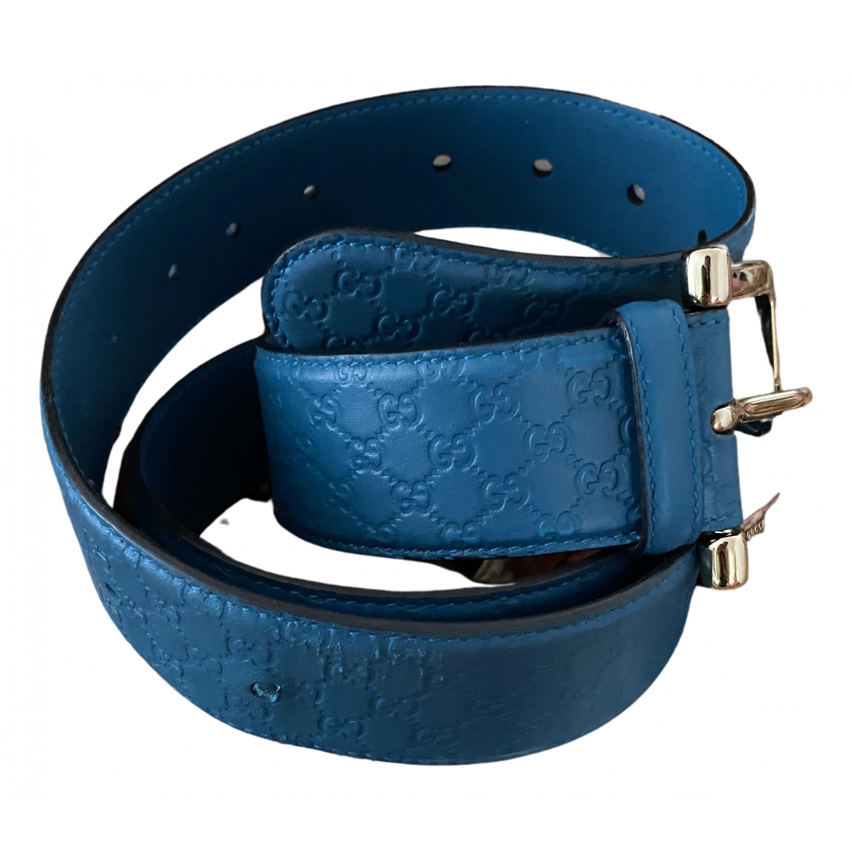 Gucci N Turquoise Leather belt for Women 95 cm