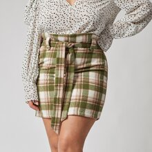 Plus Paperbag Waist Self Belted Plaid Skirt