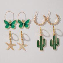 4pairs Cactus Charm Earrings