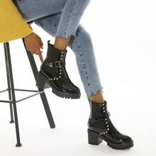 Studded Decor Patent Leather Chelsea Boots