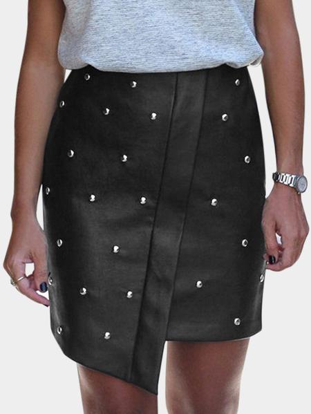 Yoins Black Handmade Beaded Details High-Waisted Skirt